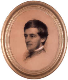 Ralph Waldo Emerson in 1846, in a charcoal portrait by artist Eastman Johnson