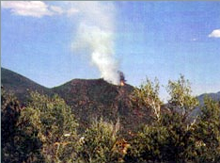 A view of the South Canyon Fire near Glenwood Springs, Colorado, at noon on July 4, 1994