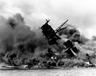 The battleship USS Arizona, burning during the Japanese attack on the U.S. naval base at Pearl Harbor, Hawaii, December 7, 1941