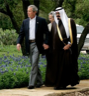 President George W. Bush of the United States and Crown Prince Abdullah of Saudi Arabia