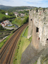 A section of the walls of Conwy Castle showing a battered plinth
