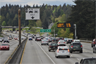 A high-occupancy vehicle lane on Interstate 5 northbound near Shoreline, Washington