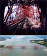 Bottom: Aerial view of the Forth Bridge, Edinburgh, Scotland. Top: Inside the Forth Rail Bridge, from a ScotRail 158 on August 22, 1999.