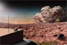 Artist's depiction of a dust storm on Mars with lightning