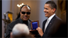 President Barack Obama with Stevie Wonder