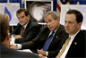 Secretary Tom Ridge, President George W. Bush, and Administrator Michael Brown