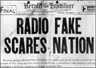 A headline about the War of the Worlds Broadcast