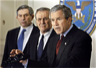 Deputy Secretary of Defense Wolfowitz, Defense Secretary Rumsfeld, and President Bush in a press conference on September 17, 2001