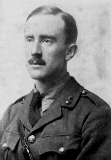 J. R. R. Tolkien (aged 24) in army uniform. Photograph taken in 1916.