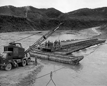 Erecting a floating bridge in Korea (1952)