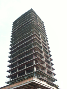 An unfinished building, known as Szkieletor